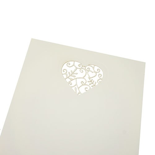 DIY Laser cut Heart White Invites with Wallet style envelopes - Confetti.co.uk
