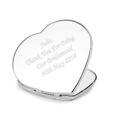 Personalized Diamante Heart Compact Mirror