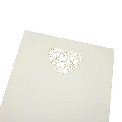 DIY White Heart Detail Invites & Envelopes - 10 Pack