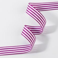 Striped Ribbon 16mm - Hot Pink & White