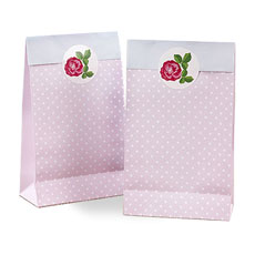 Pink Vintage Rose Paper Favor Bag