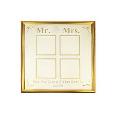 Mr & Mrs 4 Aperture Gold Frame