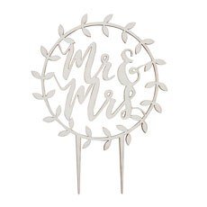 Mr & Mrs Script Wooden Cake Topper