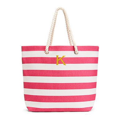 Extra Large Wide Stripe Cabana Tote Pink