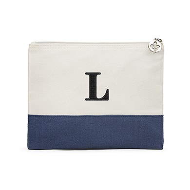 Colorblock Large Zip Pouch Navy