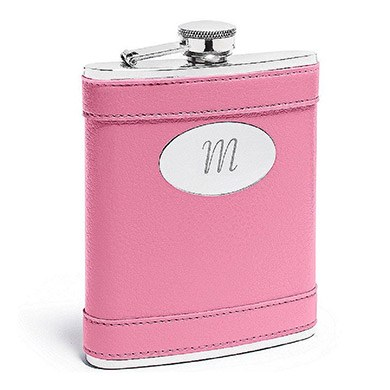 Leather Wrapped Flask Bright Pink