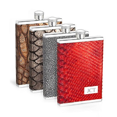 3 oz. Genuine Italian Leather Flask Red Croc