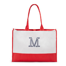 Colorblock Tote - Coral / Soft Red