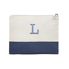 Colorblock Large Zip Pouch - Navy