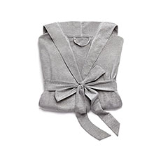Saturday Hooded Lounge Robe - Gray With White Stitching