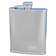 Personalized Textured 8oz Hip Flask in Stainless Steel