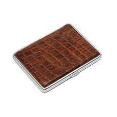 Croc Leather Cigarette Case - Brown
