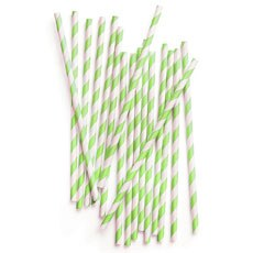 Striped Paper Straws - Apple Green