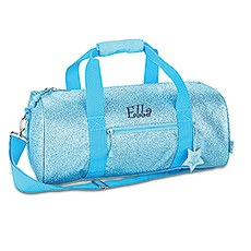 Personalized Kids Glitter Duffle Bag - Turquoise
