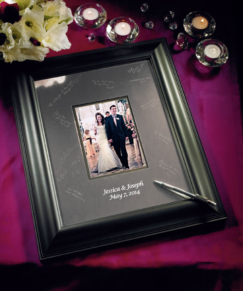 Engraved Picture Frames Wedding Favors : ... Engraved Wedding Guest Book Alternative Signature Photo Frame24