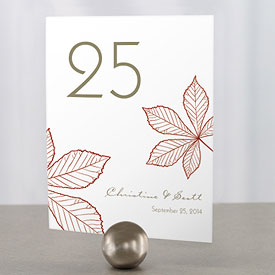 Autumn Leaf Wedding Table Number