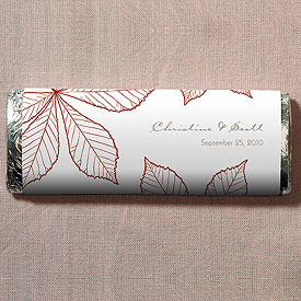 Autumn Leaf Chocolate Bar Wedding Favor