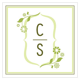 floral monogram square wedding tag stationery