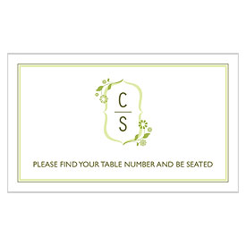 wedding floral monogram escort table sign stationery