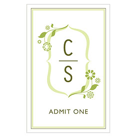 floral monogram large Wedding Drink ticket stationery