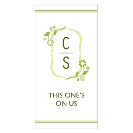 floral monogram small Wedding Drink  ticket stationery