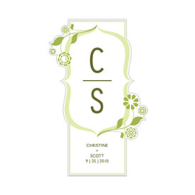 floral monogram large wedding cling stationery