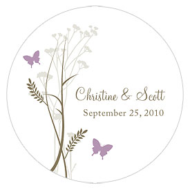 Romantic Butterfly Large Wedding Favor Sticker
