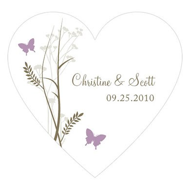 Romantic Butterfly Heart Wedding Favor Sticker