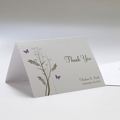 Romantic Butterfly Wedding Thank You Card