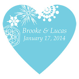 Winter Finery Heart Wedding  Favor Sticker