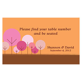 round tree wedding escort table sign stationery