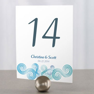 Sea Breeze  Wedding Reception Table Number Cards