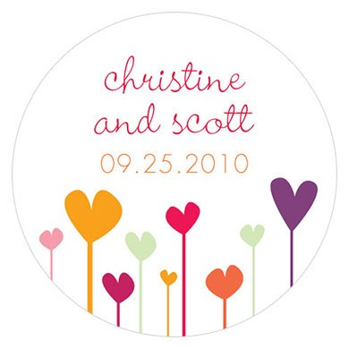 Hearts Small Wedding Stickers