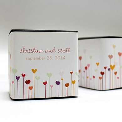 Hearts Wedding Favor Box Wrap