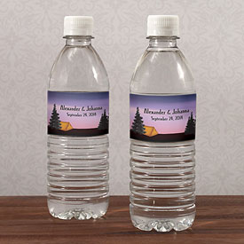 Camping Wedding Water Bottle Label
