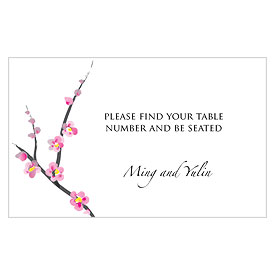 Cherry Blossom Wedding Reception Escort Table Sign Card