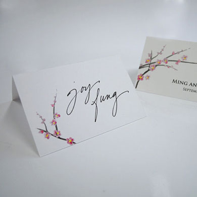 Cherry Blossom Place Card With Fold