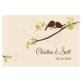 love bird large wedding rectangular tag stationery
