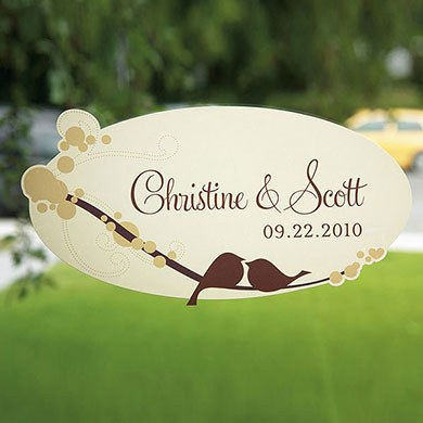 love bird large wedding cling stationery
