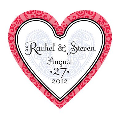 Moroccan Heart Wedding Favor Sticker