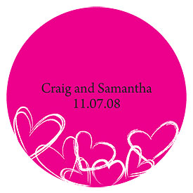 Contemporary Hearts Large Wedding Favor Sticker
