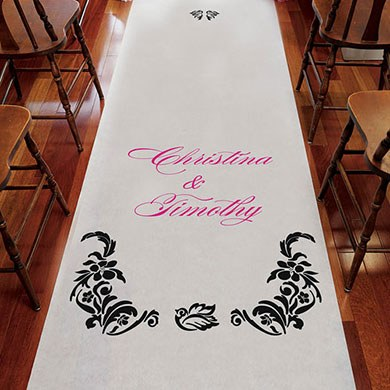 Love Bird Damask Personalized Wedding Aisle Runner
