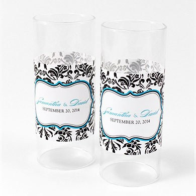 Love Bird Damask Mini Luminary Votive Candle Wrap
