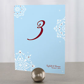 Winter Romance Wedding Reception Table Number Card