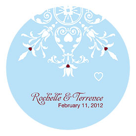 Winter Romance Small Wedding Favor Sticker