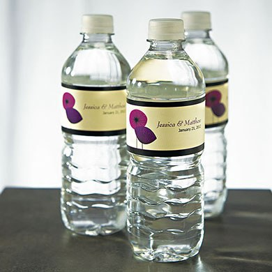 Romantic Elegance Wedding Water Bottle Wrap