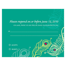Perfect Peacock Wedding RSVP Card