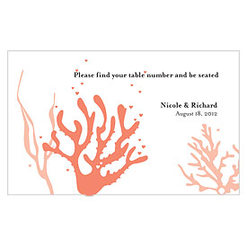 Coral Reef Escort wedding stationery Table Sign Card