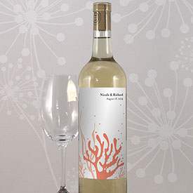 Coral Reef Wedding Wine Bottle Label