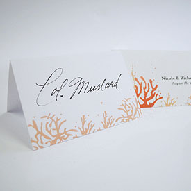 Coral Place Card With Fold